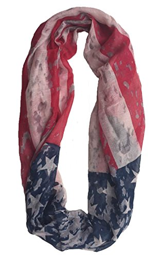 Vintage Patriotic American USA Flag Infinity Scarf By Crown (America Infinity Scarf)