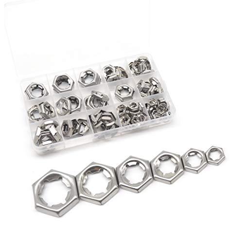 Stainless Steel Push on Lock Nuts Kit, cSeao 120pcs Pushnuts Assortment Kit, M6/ M8/ M10/ M12/ M14/ M16