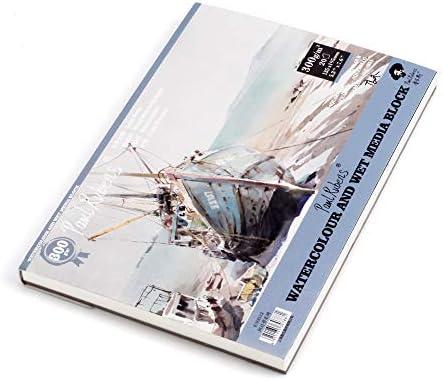 [スポンサー プロダクト]Paul Rubens 水彩紙 300g中目 50%コットン 20枚入り ホワイト ブロックタイプ 7.6'' x 5.3''(32切)
