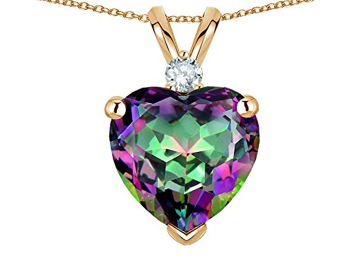 Star K 8mm Rainbow Mystic Topaz Heart Pendant Necklace 14 kt Yellow Gold ()