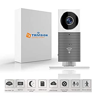 TriVision Home Camera, HD WiFi Pet Nanny Cam with Audio and Video, Cell Phone App, IR Night Vision, Wide Angle, Indoor, Small, Motion Sensor Camera for Home Security, Puppy, Baby Monitor