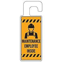 "Emedco Door Knob Hanger | Maintenance Employee Inside, Yellow/Black, Qty: 10 Tags (8 ¼ "" H x 3 ¼ "" W)"