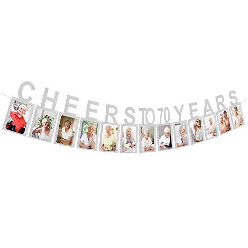 Cheer Birthday Party Supplies (AERZETIX Cheers to 70 Years Silver Photo Banner Happy 70th Birthday Milestone Anniversary Party Decoration Hanging Supplies Gift Keepsake for Women or Men Seventy Birthday)