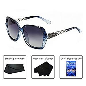 GAMT Crystal Polarized Sunglasses for Women Oversized Square Sparkling Brand Designer