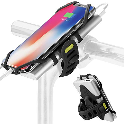 2-in-1 Portable Charger Bike Phone Mount, Bicycle Stem Handlebar Power Bank Cell Phone Holder for iPhone Xs Max XR X 8 7 Plus Samsung Galaxy S10 S9 S8 Note 9 Smartphone, Bike Tie Pro Pack (Black)
