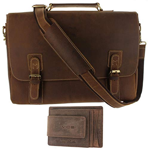 Leather Messenger Bag for Men, Shoulder Bag Straps Included, Quality Briefcases for Men Holds 17 inch Laptop, Both Leather Money Clip/Wallet and Leather Computer Bag Have RFID Protection by Viosi