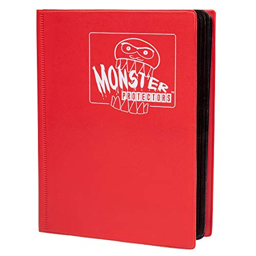 (Monster Binder - 4 Pocket Trading Card Album - Matte Red - Holds 160 Yugioh, Magic, and Pokemon Cards)