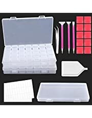DUOFIRE Diamond Painting Box 28 Slots 2-Pack Plastic Storage Containers with Diamond Painting Tool Kits and Accessories for DIY 5D Diamond Craft Paintings