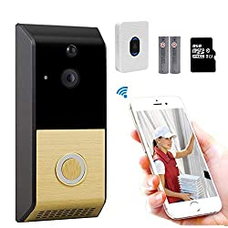 Wireless Video Doorbell Camera Wifi Video Doorbell 720p Home Security Camera Real Time Two Way Audio Night Vision Pir Motion Detection For Ios And Android Chime Rechargeable Battery Built In 8g Card
