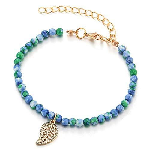 COOLSTEELANDBEYOND Blue Green Gem Stone Beads Gold Chain Anklet Bracelet with Dangling Vintage Leaf Charm