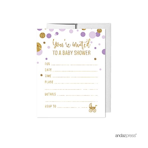 Andaz Press Lavender Purple Gold Glitter Girl Baby Shower Party Collection, Games, Activities, Decorations, Blank Invitations with Envelopes, -