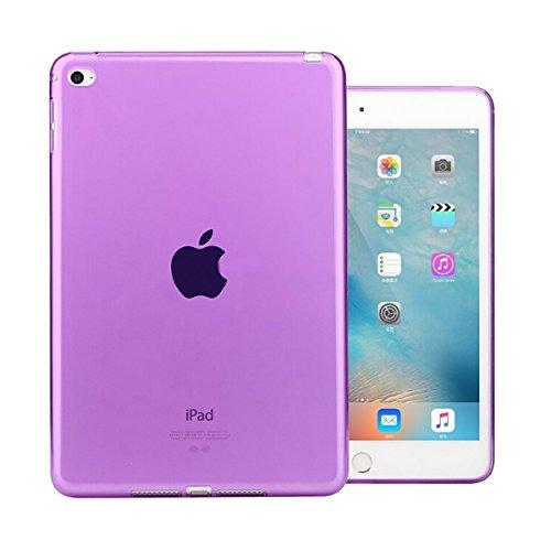 iPad Mini 4 Case, iCoverCase Ultra-thin Silicone Back Cover Clear Plain Soft TPU Gel Rubber Skin Case Protector Shell for Apple iPad Mini 4 7.9 (Purple)