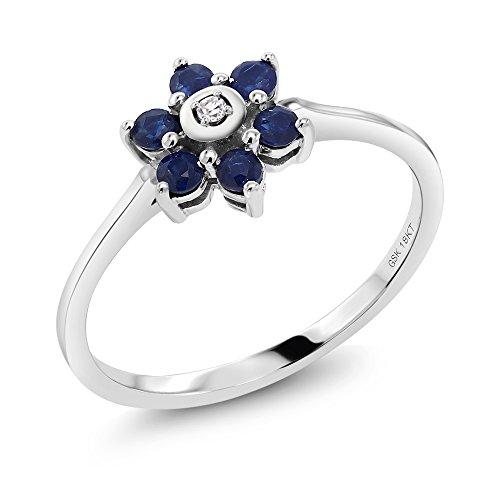 18K Solid White Gold 0.37 cttw Sapphire & White Diamond Flower Engagement Ring (Ring Size 8) White Sapphire Flower Ring