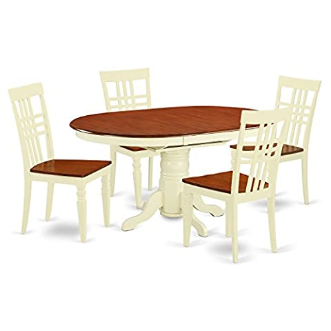 East West Furniture KELG5-BMK-W 5 PC Table & Chair Set with One Kenley Dining Table & Four Kitchen Chairs in Buttermilk & Cherry - Extendable Dining Table Set