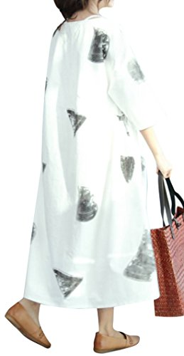 QM6 Women Maxi Swing Blouse Dress 100% Cotton Gathered Waist 'Pencil Sketch' Loose Fit Plus Size (Cotton Gathered Blouse)