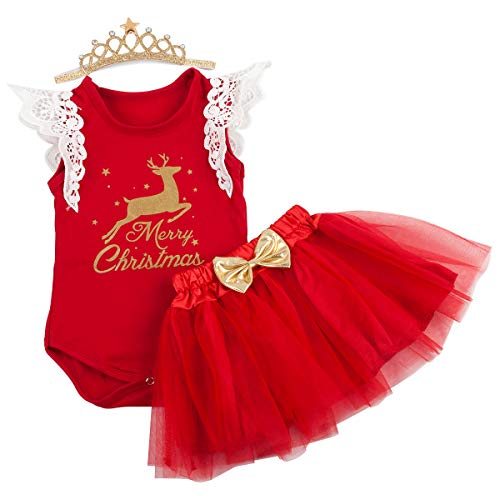 Slowera Baby Girls Christmas Outfits Clothes (XL:12-18Months, Red Reindeer)