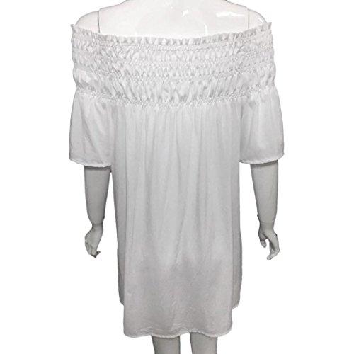 Kingwo Dcontracte Blanc Top T chemises shirt courte 02 Manche Chemisier Dentelle Bustier XnvdXF