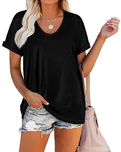 WIHOLL T Shirts for Women Loose Fit Short Sleeve Summer Tops