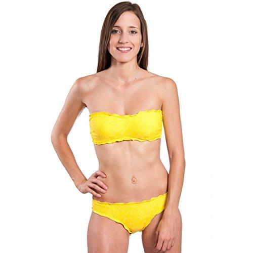 Solymar Beachwear–Traje de baño bandeau 2piezas amarillo y encaje amarillo