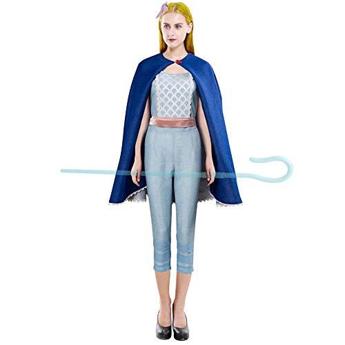 HOMELEX Bo Peep Costume Blue Suit Cape Dress Bonnet for Adult Women Halloween Cosplay (M, Fullset) ()