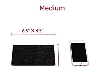 (Pack of 2) Extra Thick Sticky Anti-Slip Gel Pad, Mini-Factory PREMIUM Universal Non-Slip Dashboard Mat for Cell Phones, Sunglasses, Keys, Coins and more - Black (Medium Size: 6.5
