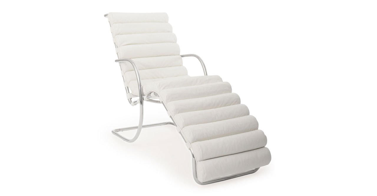 Kardiel Mies Modern Cantilever Arm Chaise Lounge, Arctic White Aniline Leather/Stainless Steel