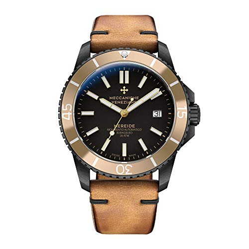 Meccaniche Veneziane Men's Automatic Mechanical Diver Watch with Gold Vintage Leather Strap Nereide 3.0 Gold Black PVD 1202013 Swiss - Incabloc Swiss