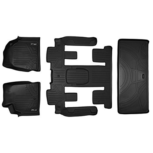 (SMARTLINER Floor Mats 3 Rows and Cargo Liner Behind 3rd Row Set Black for GMC Acadia/Saturn Outlook with 2nd Row Bucket Seats)