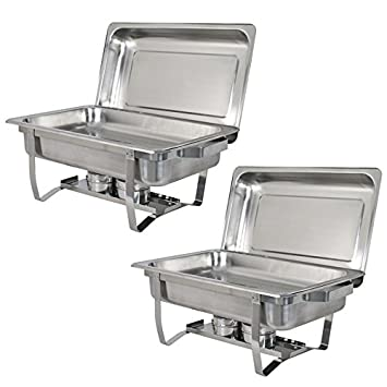 Stainless Steel Chafing Dish Full Size Chafer Dish Set 2 Pack of 8 Quart For Catering Buffet Warmer Tray Kitchen Party Dining Rectangular