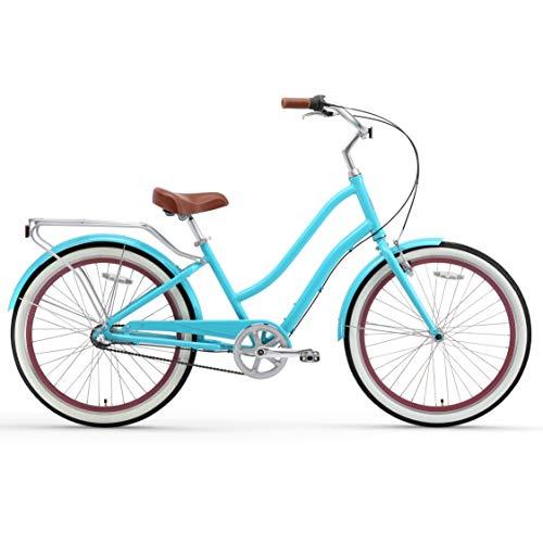 sixthreezero EVRYjourney Womens Step-Through Alloy Hybrid Cruiser Bicycle, 24 & 26 Wheels/ 14 & 17.5 Frame