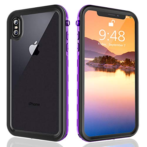 FXXXLTF iPhone Xs Max Waterproof Case, Full Body Protective Clear Case Built in Screen Protector, Underwater Shockproof Snowproof Case Design for iPhone Xs Max