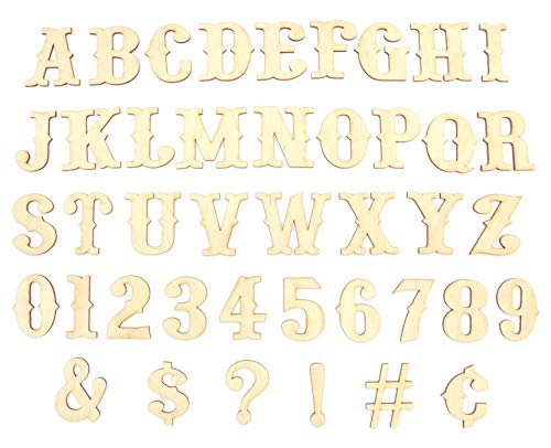 DAVE'S SIGNS 47 Unfinished Wood Layout Letters, Numbers & Symbols for Arts, Crafts or DIY (1.5in - 6in Sizes, A-Z Alphabet, 0 to 9) - Premium Baltic Birch Plywood, Ready to Paint (Western, 2