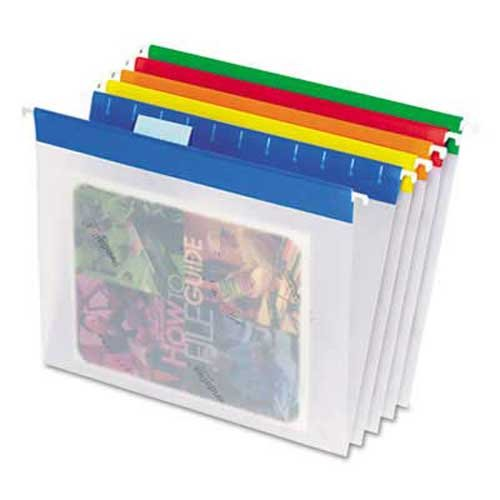 Pendaflex EasyView Poly Hanging File Folders, 1/5 Tab, Letter, Assorted Colors, 25/Box