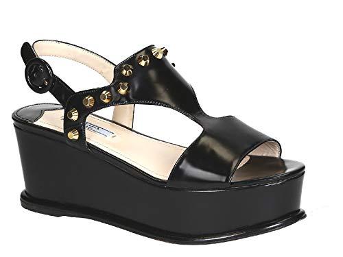 Número F0002 Brillante Becerro Piel 3d30 Calza En Modelo De Sandalias Negro Prada 1xz285 8w0U7x