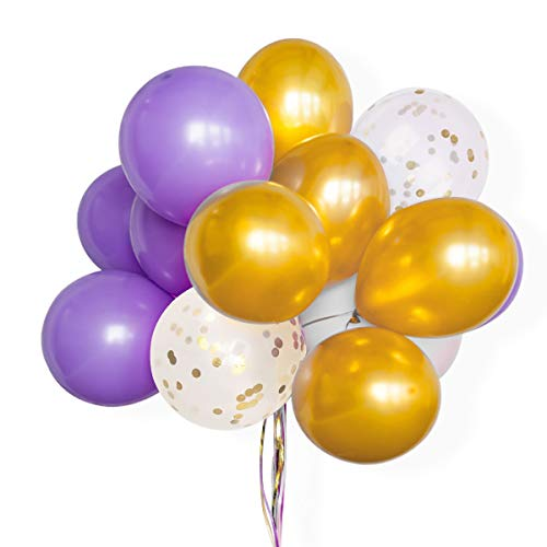 AOYOO Latex Balloon Set, Unicorn Balloons Yellow, Purple, White, Golden Confetti Assorted Balloons, 12