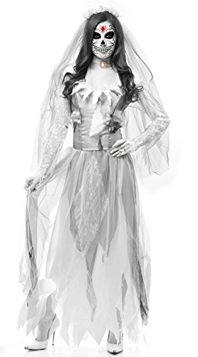 Michealboy Halloween Women Costume Deluxe Ghost Bride Masquerade Vampire Devil Cosplay White