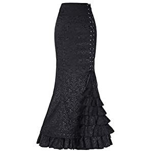 Belle Poque London- Victorian Gothic Ruffle Steampunk Vintage Fishtail Skirt