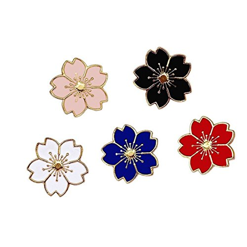 WINZIK Novelty Brooch Pin Set 5pcs Pretty Cherry Blossom Sakura Series Pattern Enamel-liked Lapel Pins Set Badges for Women Girls Clothes Bags Decor