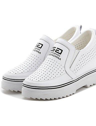 Blanco casual Mujer Zapatos Cn39 5 Eu39 Plata Silver punta Redonda tacones us7 Uk6 Black Zq plataforma Eu38 us8 cuero De Cn38 Uk5 negro 5 wvAqxE0