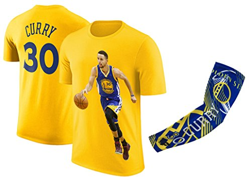 Price comparison product image Steph Curry Jersey Style T-shirt Kids Curry Yellow T-shirt Gift Set Youth Sizes Premium Quality Gift Basketball Curry Arm Sleeve (YM 8-10 Years Old,  Curry)