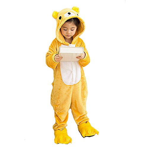 Children's Pajamas Animal Costume Kids Sleeping Wear Kigurumi Pajamas Cosplay (S, Yellow Bear) (Couples Cosplay Costumes)