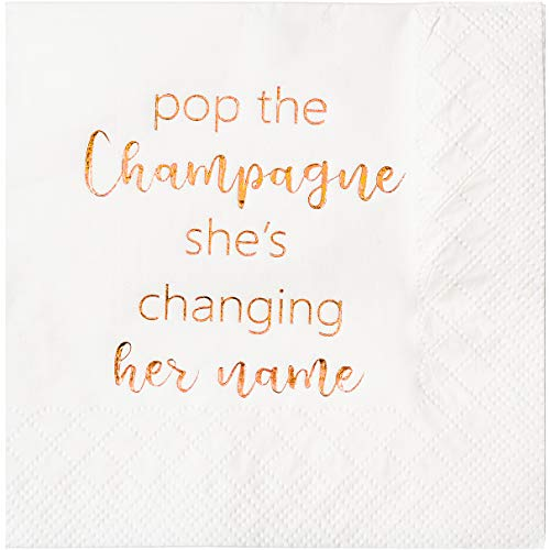 Crisky Bridal Shower Cocktail Napkins Bachelorette Dessert Napkins Rose Gold Foil Bachelorette Bridal Shower Engagement Party Decoration Party Supplies [ 50 Count Rose Gold ]