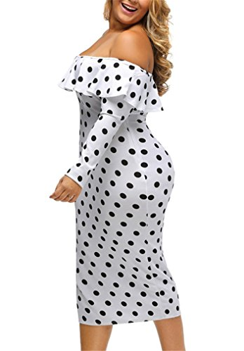 Manga Vestido Blanco Nicetage Larga Ajustado Mujer pEg0q