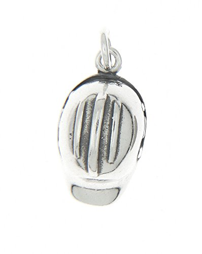 Sterling Silver Oxidized 3d Construction Worker Hard Hat Charm Pendant