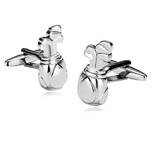 - KnSam Stainless Steel Cufflinks for Mens Golf Bag and Clubs Theme Shiny Silver Shirt Stud