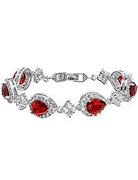 Ever Faith Wedding Silver-Tone Teardrop Necklace Earrings Set Clear CZ Austrian Crystal