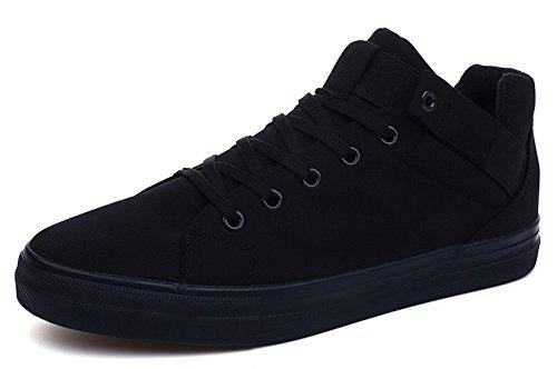 Idifu Heren Casual Laag Uitgesneden Veters Plat Skateboard Canvas Sneakers Zwart