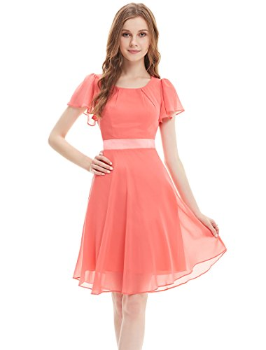 Ever Pretty Womens Simple Short Ruched Flutter Sleeve Cocktail Dress 10 US Coral
