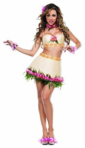 Starline Women's Hawaiian Tiki Goddess Sexy 5 Piece Costume Set, Tan, Small -