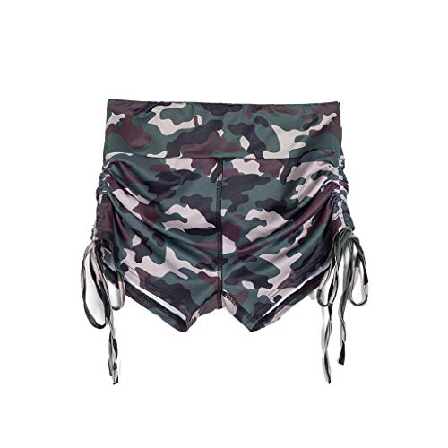 (RAINED-Women's Shorts for Pole Dancing, Dri-fit Fitness Yoga Shorts,Side Tie High Waist Stretch Athletic Workout Shorts Camouflage)